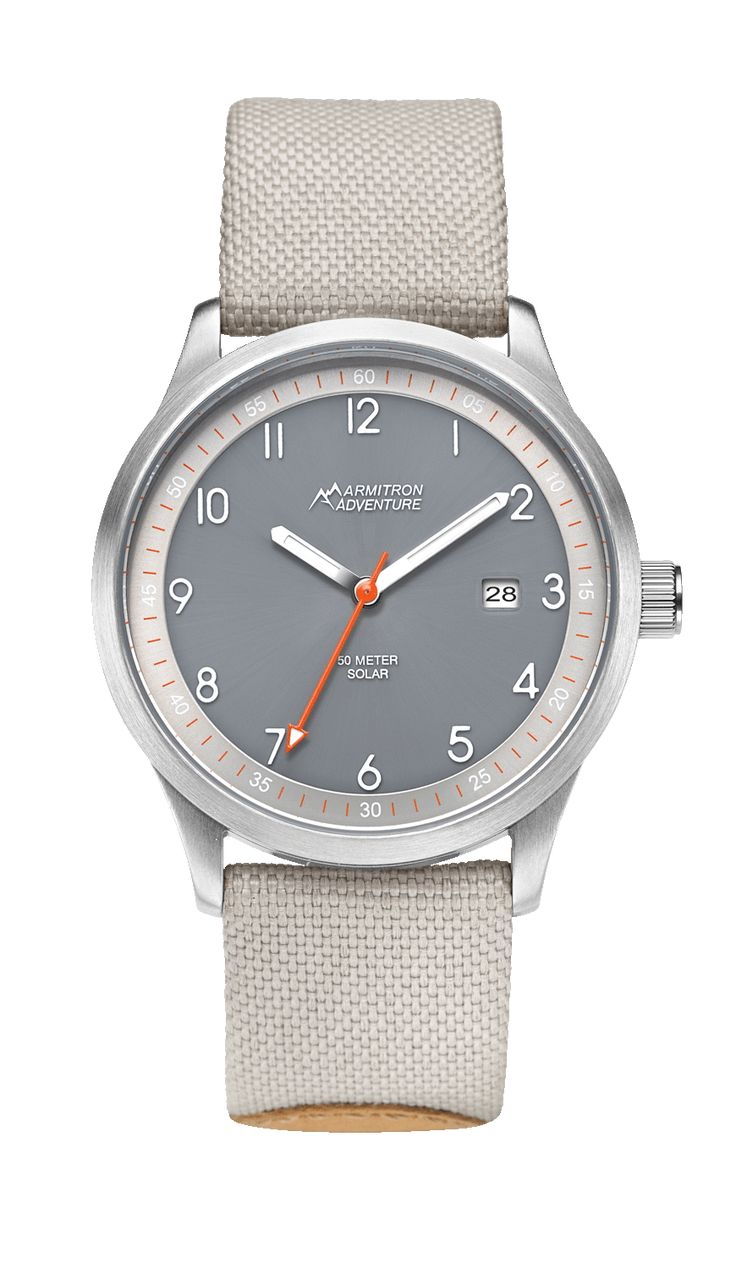 Solar-Powered Analog Watch with Light Gray and Tan Nylon Strap- 38MM