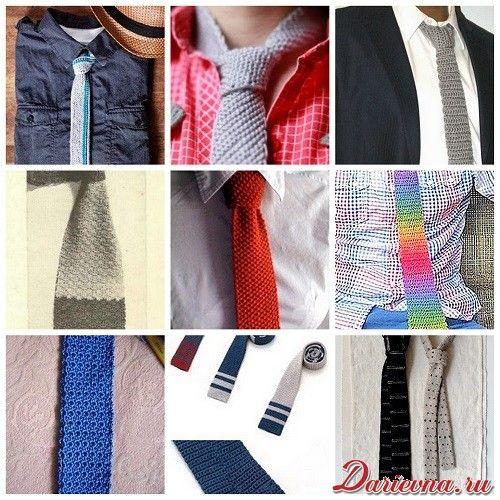 вязаный галстук крючком и спицами схемы