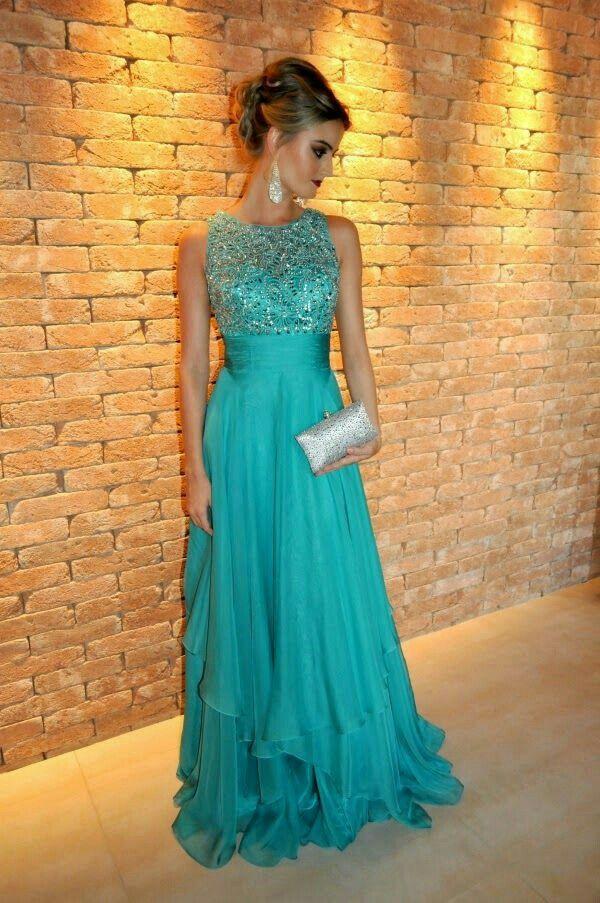 Vestido azul formatura lindo