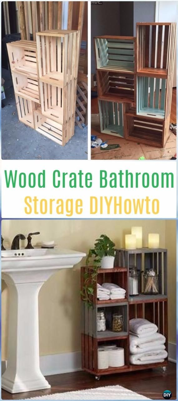 DIY Wood Crate Bathroom Storage Instructions - DIY Wood Crate Furniture Ideas Projects