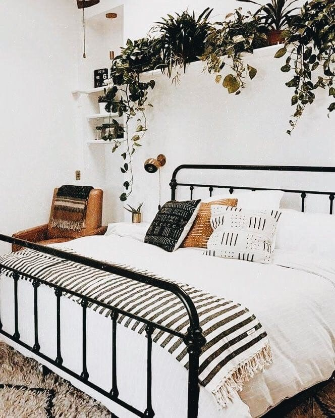 Bed Frame Black On White Linens And Greenery Home Bedroom
