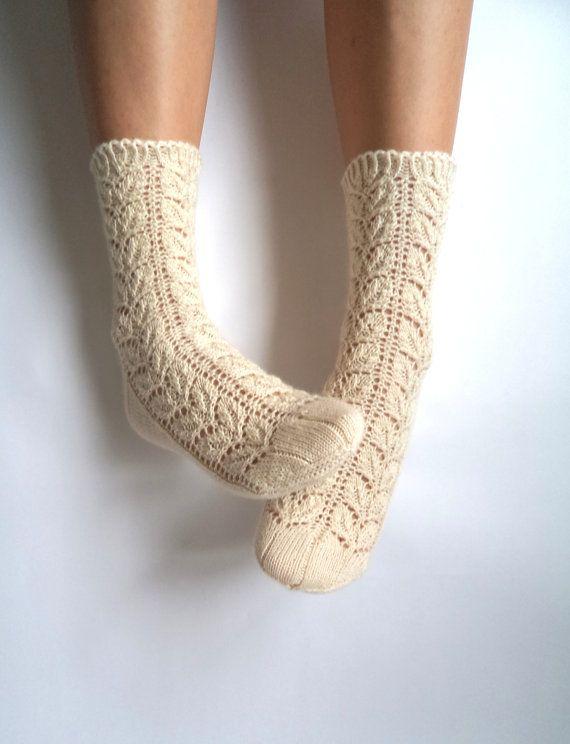 Off white lace socks. Handknit wool socks. Wool by GrietaKnits