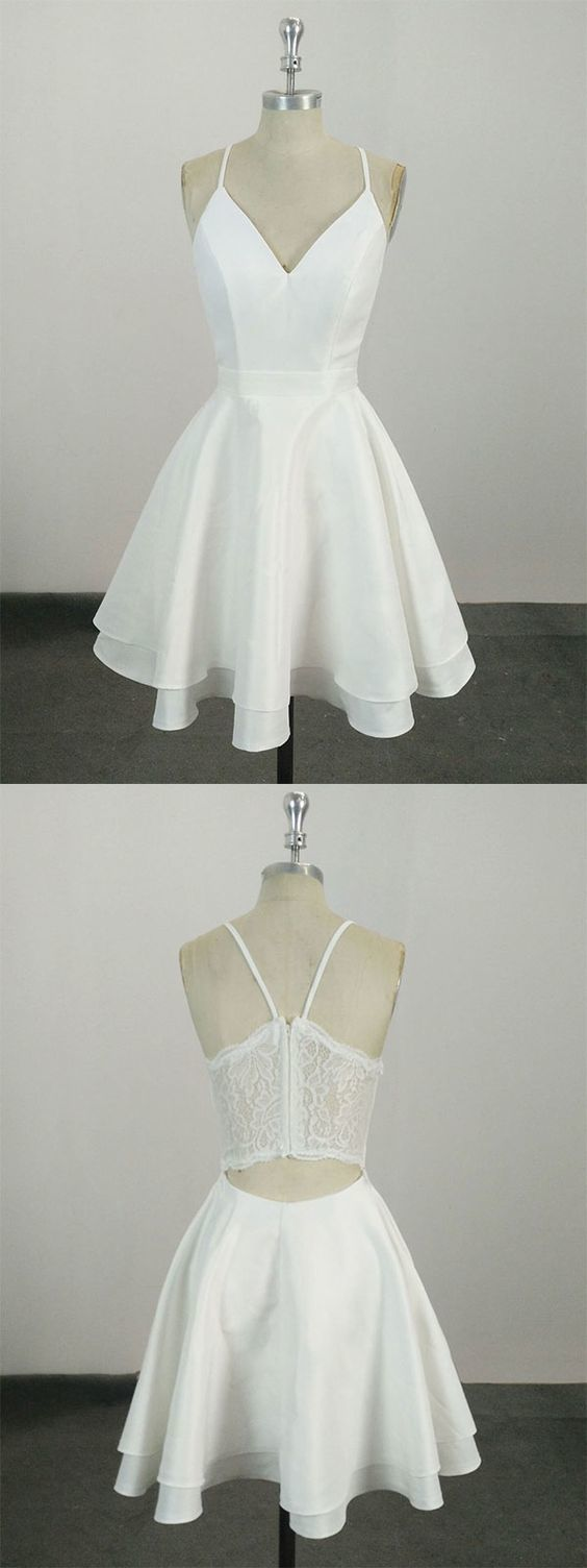 White v neck satin lace short prom dress, white homecoming dress