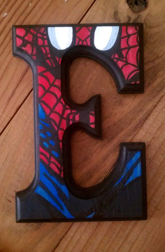 "Spiderman - 6"" Hand Painted Wooden Letters on Etsy, $20.00"