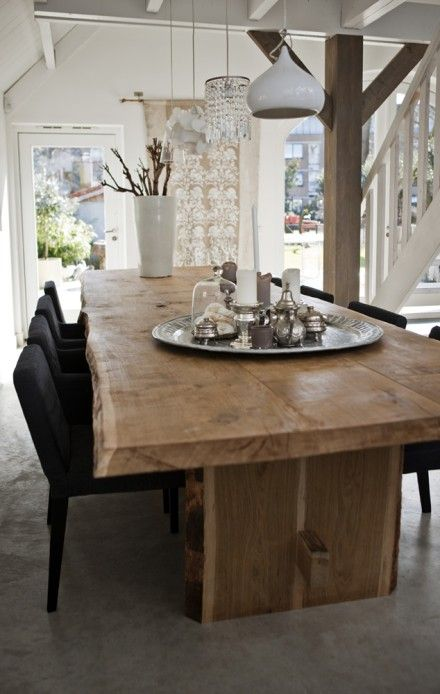 my ultimate table. love the idea of the natural wood dressed up with chairs and lighting.