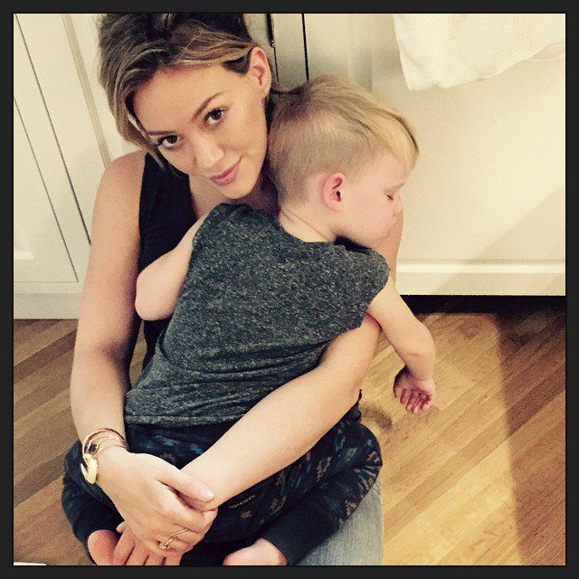 Pin for Later: Jessica, Hilary, and More Shared the Sweetest Snaps of Their Tots This Week!  Luca Comrie was full of hugs for his mom, Hilary Duff.