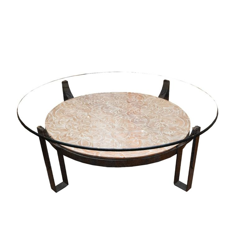 Mid century coffee table with hammered iron