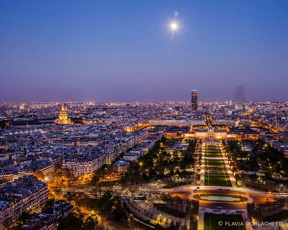Full moon over Paris Paris photography fine by FlaviaMorlachetti