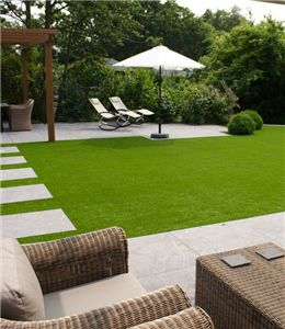 A growing number of private and public garden started using artificial grass. Compared with natural grass, artificial grass garden is better on appearance and using effect. There is a very important point, artificial turf could give you green effect, where the natural grass could not grow.