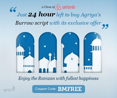 Only 24 hours remaining to utilize the Agriya's Burrow script offer-clone of ‪#‎airbnb‬ .Just buy our Burrow script and get $750 worth of excellent modules at a free of cost. To know more: http://www.agriya.com/products/airbnb-clone