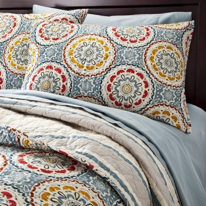 Target Home™ Medallion Reversible Quilt #bedding: Red Yellow, Homebedroom Ideas, Target Threshold, Decor Ideas, Revere Quilts, Beds Master Bedrooms Red, Reverse Quilts, Blue And Red Master Bedrooms, Blue Red