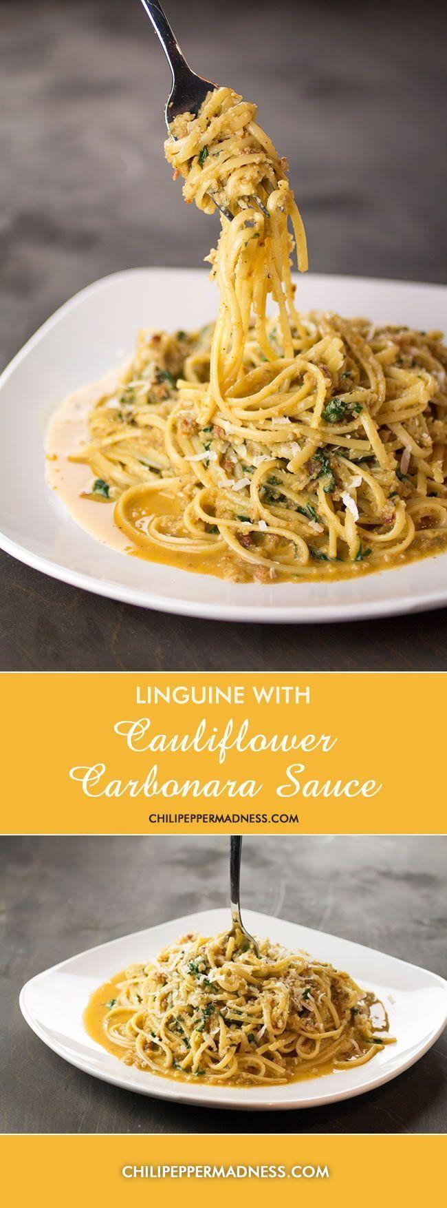 Linguine with Cauliflower Carbonara Sauce - A lighter, healthier version of the classic Italian Pasta Carbonara, made with cauliflower. From ChiliPepperMadness.com