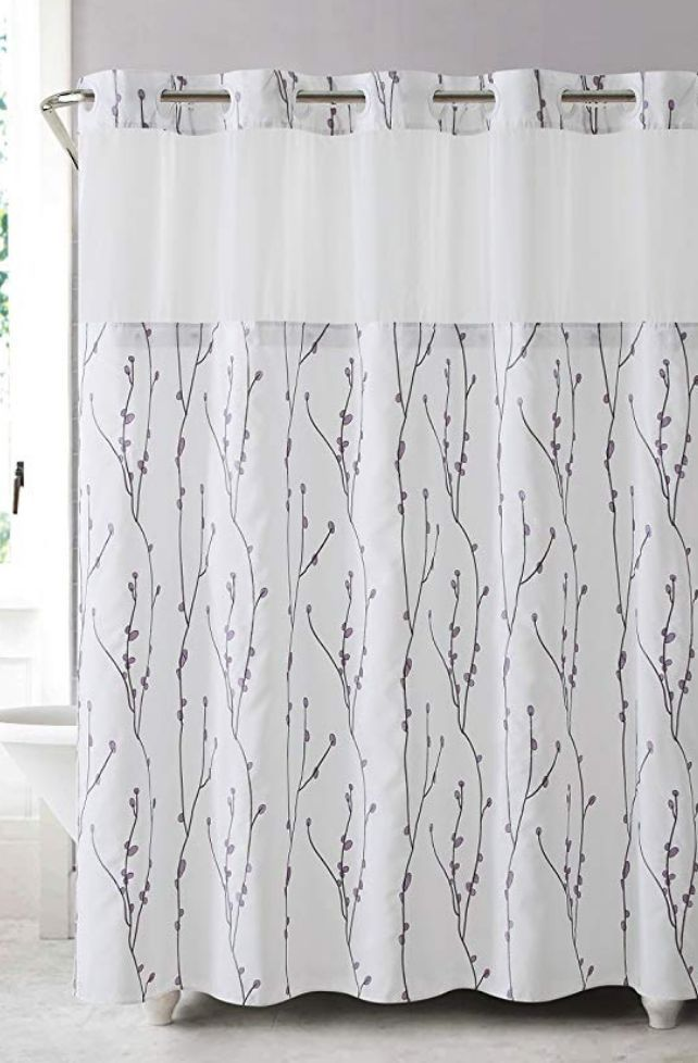 Hookless Rbh40my080 Cherry Bloom Shower Curtain With Peva Liner
