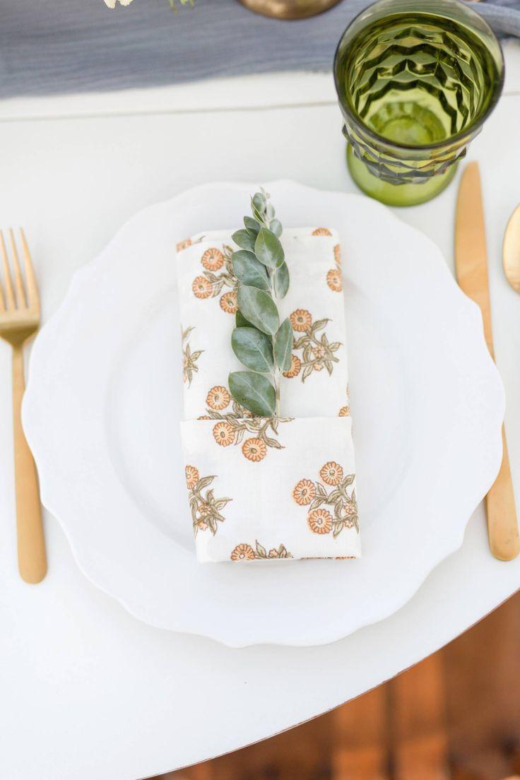 Hyatt Regency Tamaya Resort & Spa Inspiration // High Desert Winter Romance via Rocky Mountain Bride // napkin decor // gold flatware @floriographynm Missy Rich Photography
