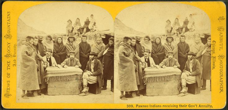 Pawnee Indians receiving their Gov't annuity, from Robert N. Dennis collection of stereoscopic views