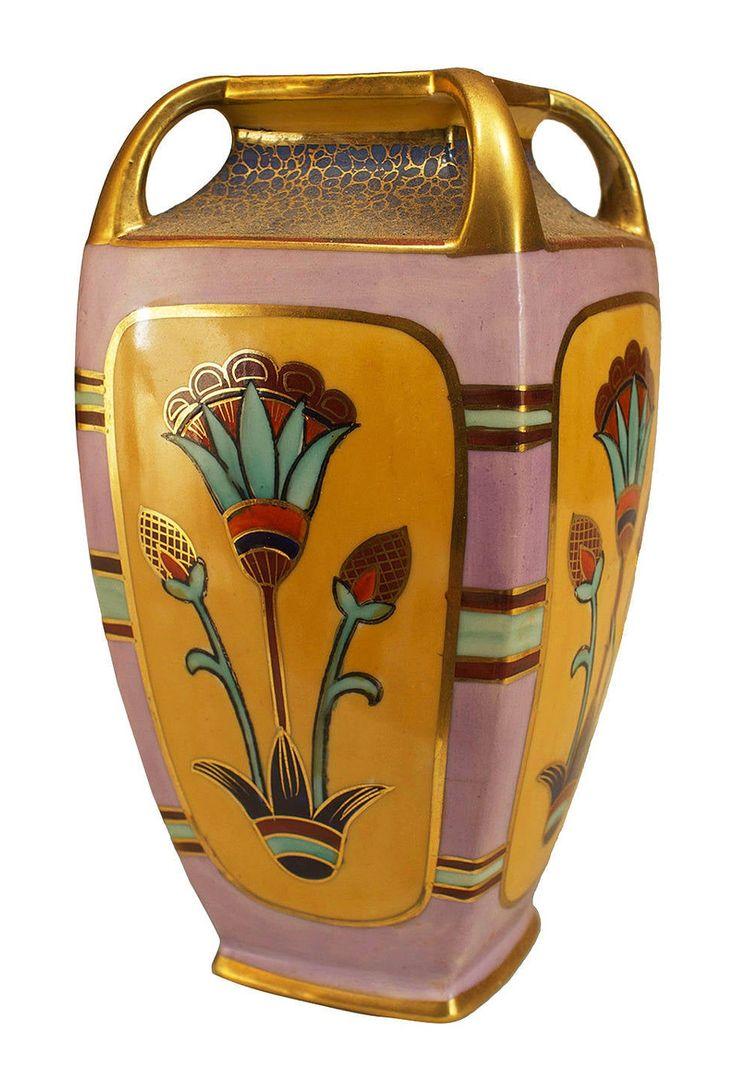 Egyptian four handled vase by noritake japanese