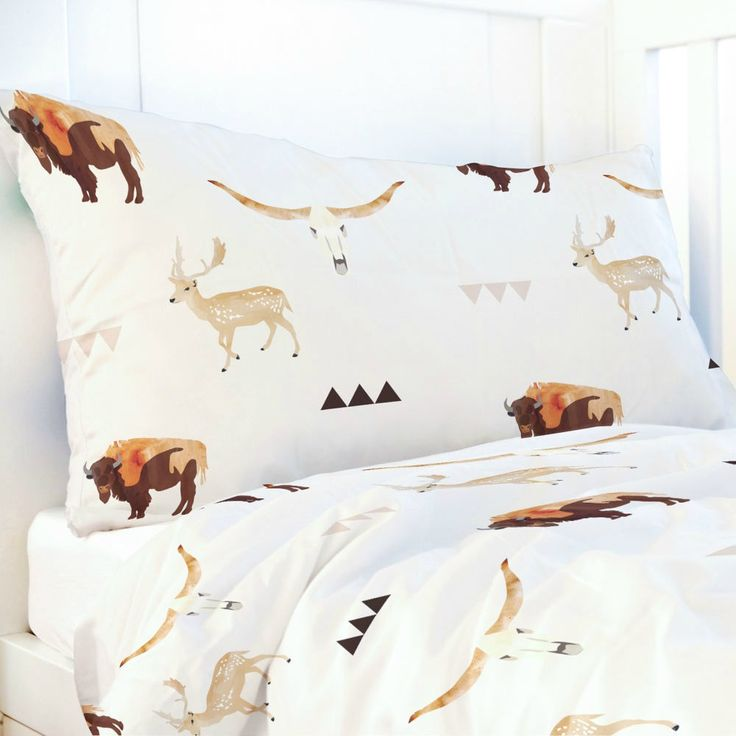Watercolour Buffalo & Deer Print Toddler Comforter