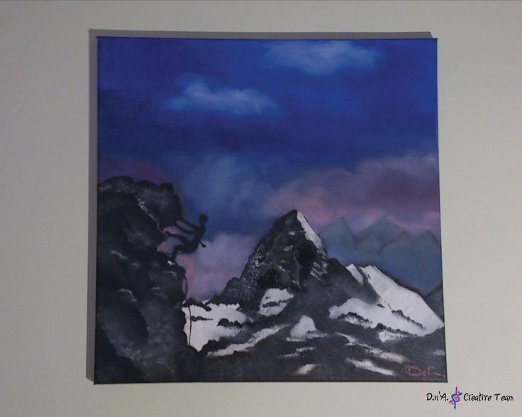 -MOUNTAIN CLIMBER -Oil painting on canvas -Measures: 40x40 cm  https://www.etsy.com/listing/213094227/mountains-landscape-oil-painting-winter?ref=shop_home_active_2