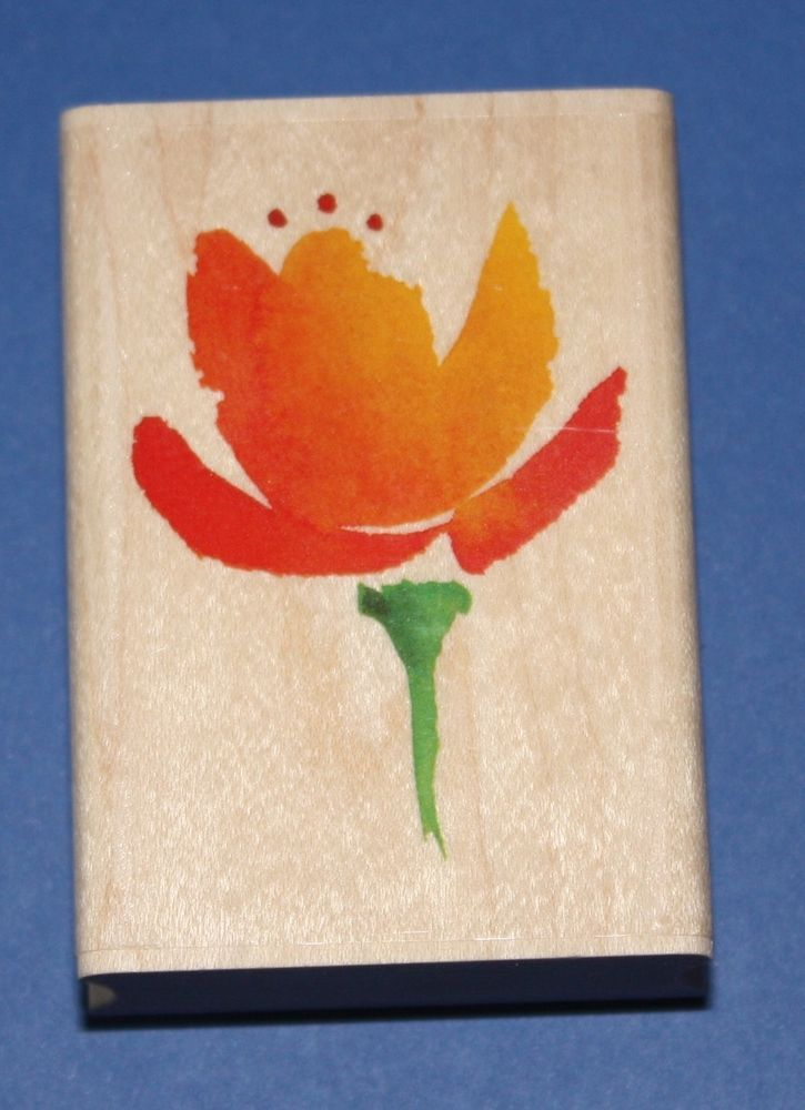 NEW Inkadinkado  Flaming Tulip  Wooden Backed Rubber Stamp 97804LL