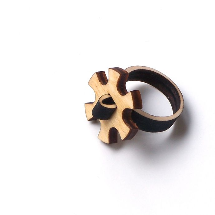Stylish laser cut wooden ring - model 11/1, cogwheel ring, unique wood jewelry, natural ring by ardeola - 20USD - http://www.ardeola.hu/index.php/products-menu?view=project&id=28:wooden-ring-model-11