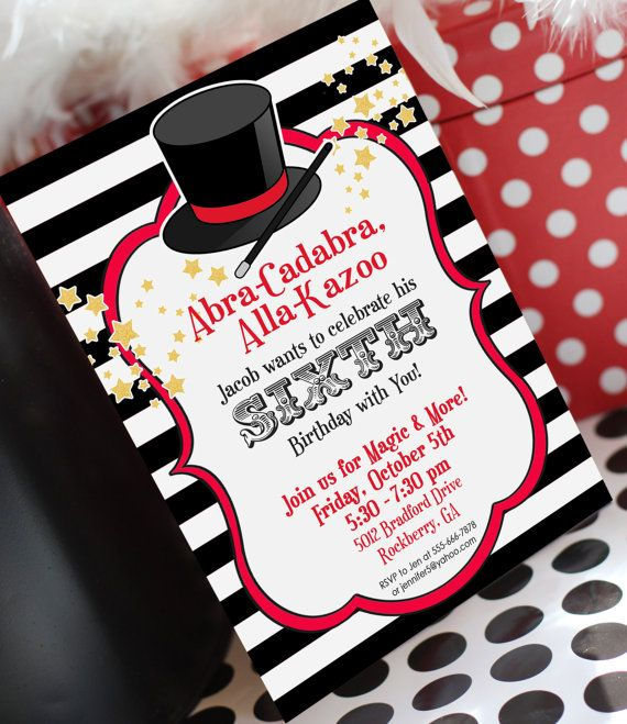 27 best magic party images on pinterest magician party magic magic party invitation stopboris Choice Image