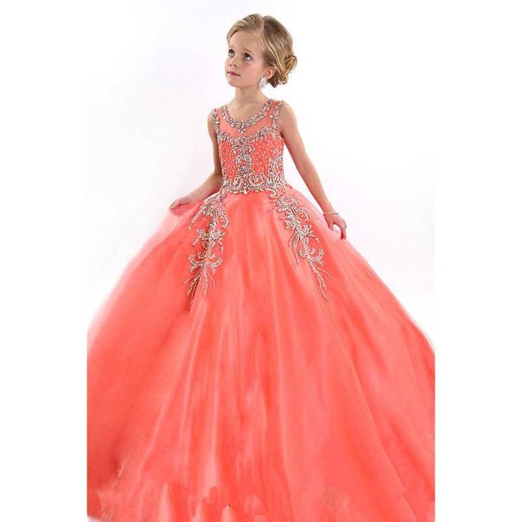 2017 Sparkling Beading Sequins Crystals Girls Pageant Dresses Organza Tulle Ball Gown Flower Girls Dresses Floor Length hf60