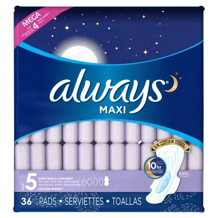 Always Maxi Size 5 Extra Heavy Overnight Pads with Wings, Unscented, 36 Count