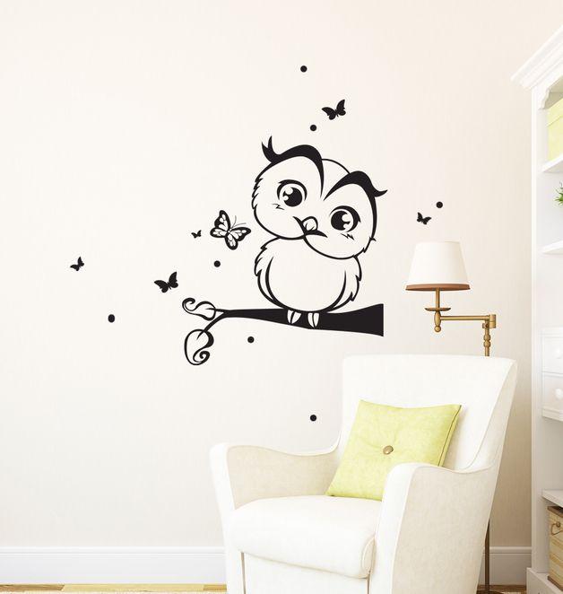 die besten 25 wandtattoo eule ideen auf pinterest eulen. Black Bedroom Furniture Sets. Home Design Ideas