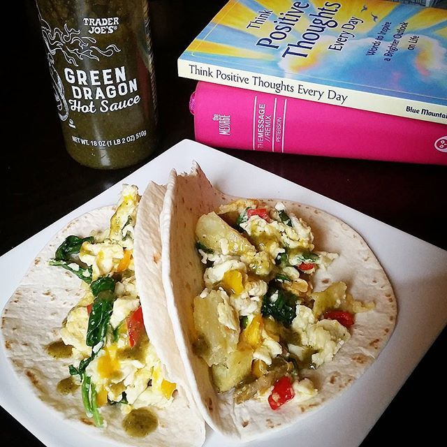 Preworkout Breakfast tacos!  1 egg 2 egg whites Baby spinach Sweet peppers Cheddar cheese Green dragon sauce 2 small tortillas  I have been loving my morning routine lately. I've never been a morning person, but I don't really think anyone ever is born to be one. You have to slowly evolve into one. My wake up call is at 6am. I drink my coffee, walk my dog & feed him, do some light reading, meditate, check email, then by that time it's 8:30am which is when my two favorite youtubers post their…