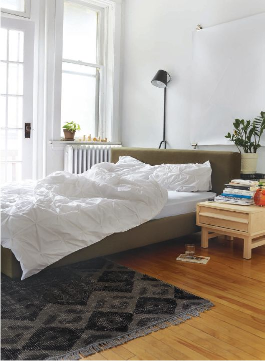 EQ3 Lifestyle Imagery: 2012 Fall Catalogue. Featured here, Bento Bed, Maple Nightstand, DHS Manana Lamp, Quince Rug, Bade Tumbler, Maddy Alarm Clock, Moncton Duvet Set - White