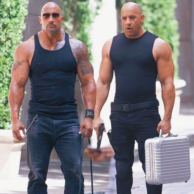 Dwayne Johnson and Vin Diesel in The Fate of the Furious (2017)