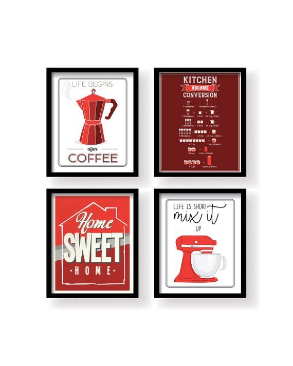 Red White Black Modern Kitchen Set Decor Art