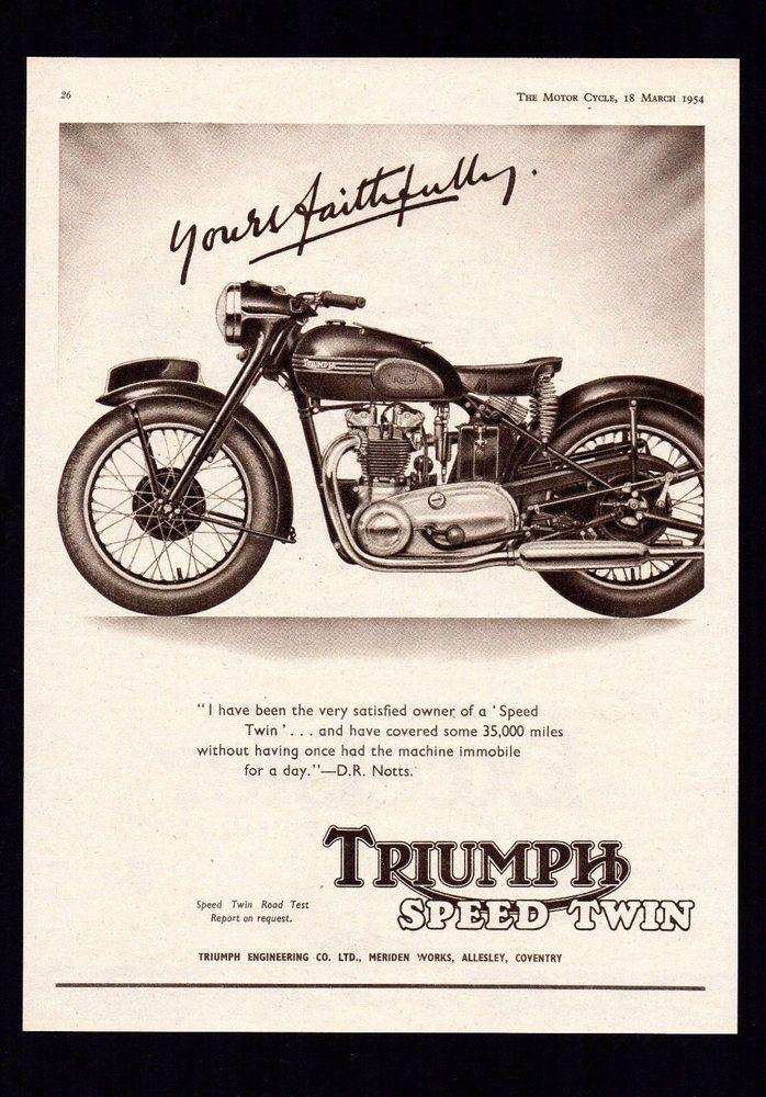 1954 TRIUMPH SPEED TWIN 500 TWIN 5T MOTORCYCLE. MAGAZINE ADVERT.