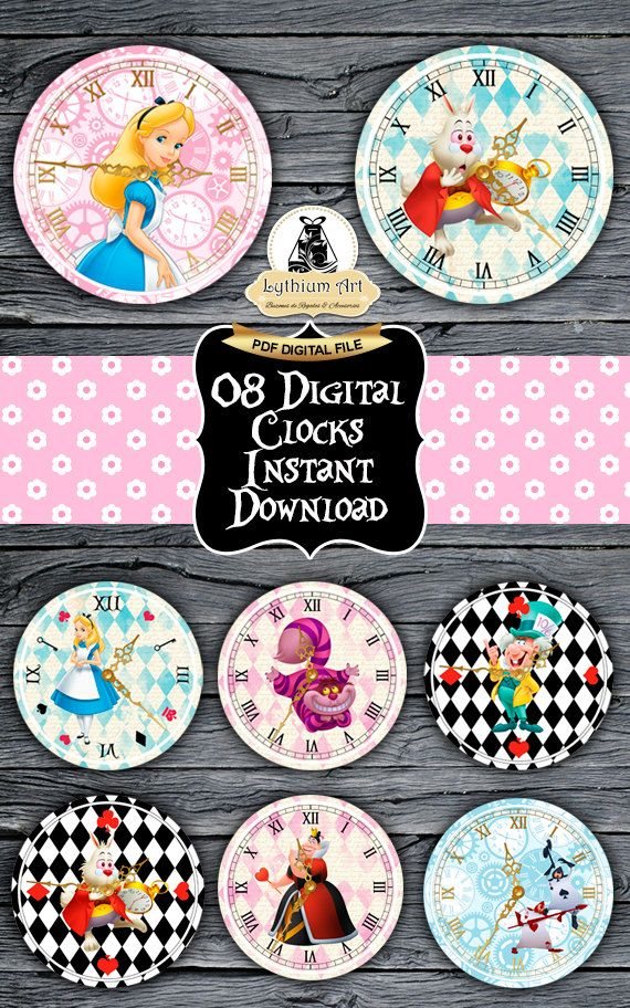 ❤ WELCOME TO LYTHIUM ART SHOP! ❤  ALICE IN WONDERLAND (DISNEY CHARACTERS) PRINTABLE CLOCKS - 08 PACK  08 Super fun printable clocks with the most beautiful design for a very special Alice in Wonderland Birthday Party. Print, cut and hang it yourself for a one of a kind party decoration!  ❤ This listing is for an INSTANT DOWNLOAD ❤ Once payment is completed, you will receive: ° 08 sheets 8.5 x 11 with 1 high quality (300 dpi) clock image each, format PDF no editable. (05 ZIP Files, you will…