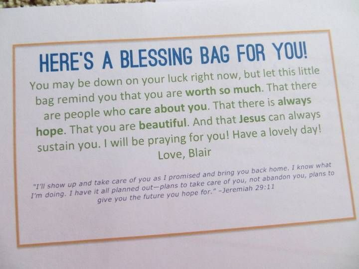 When I go to New York im going to hand out blessing bags to the homeless and put this on them:)