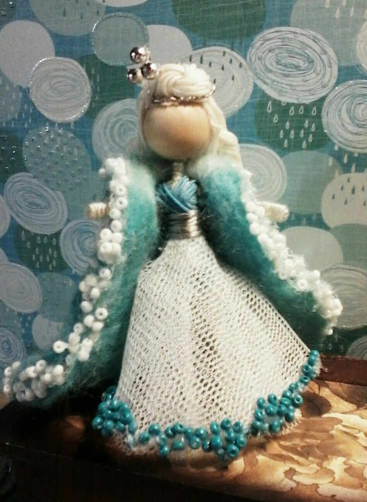 Mini wire doll Winter Blue  with wet felted coat