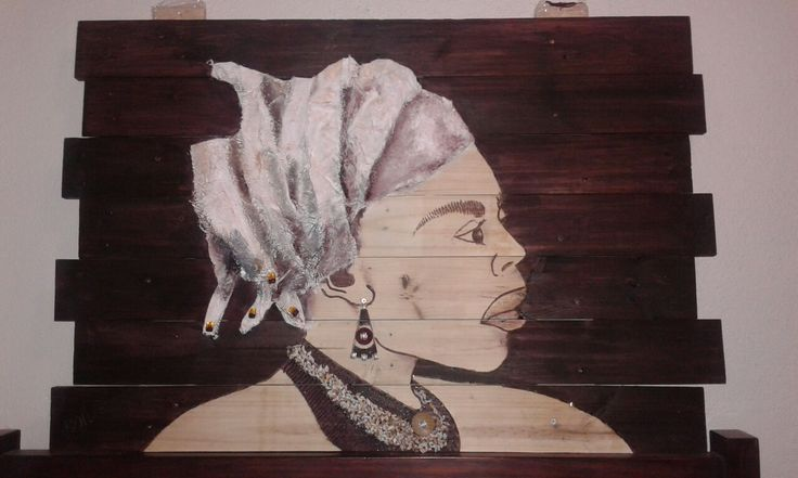 The LADY. Mixed media on a pallet.