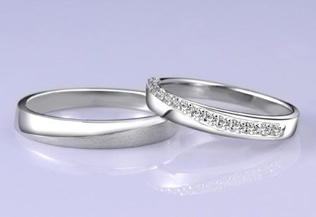 Sterling Silver Cubic Zirconia His and Hers matching Wedding Bands $49.00 2pcs- Egifts2u.com