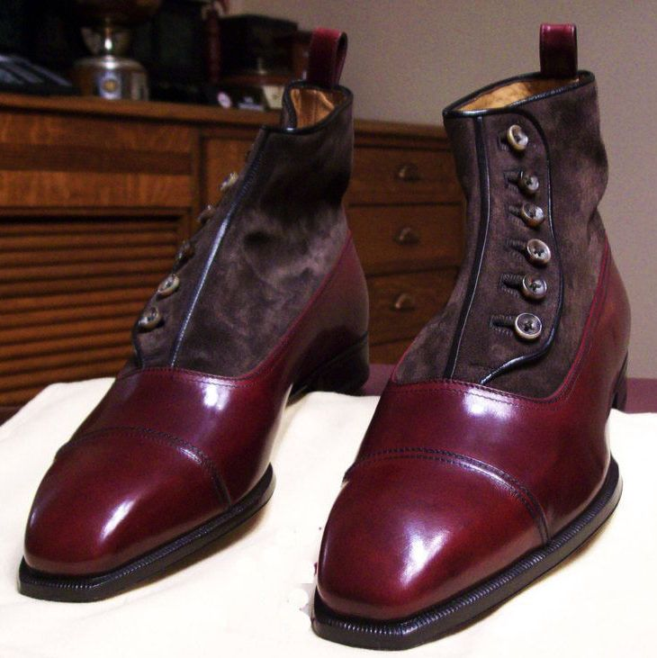 Handmade Men's Maroon Leather Suede Top Button ankle Boot, Men Leather Boot #Handmade #Topbutton