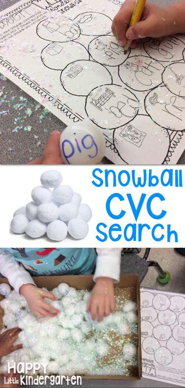 Winter CVC Center. Snowball CVC sort. Part of my Winter Math & Literacy Center Bundle! Great for kindergarten or 1st grade centers!