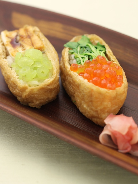 Inarizushi (Tofu Pocket Sushi) with Ikura Salmon Caviar and Anago Conger Eel|いくらと穴子の変わり稲荷寿司