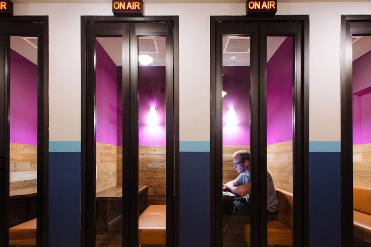 Phone booth's in this Philly office make privacy in the office possible.