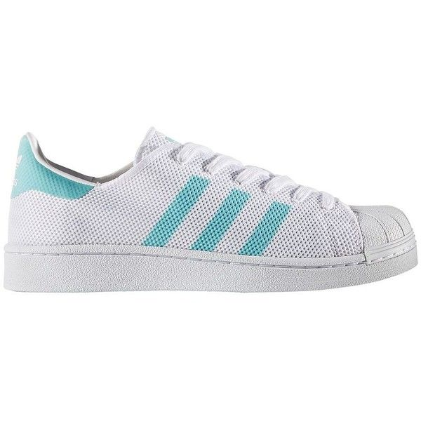 Adidas Women's Original Superstar Sneakers (€67) ❤ liked on Polyvore featuring shoes, sneakers, white light blue, white shoes, round cap, round toe sneakers, lace up shoes and laced up shoes