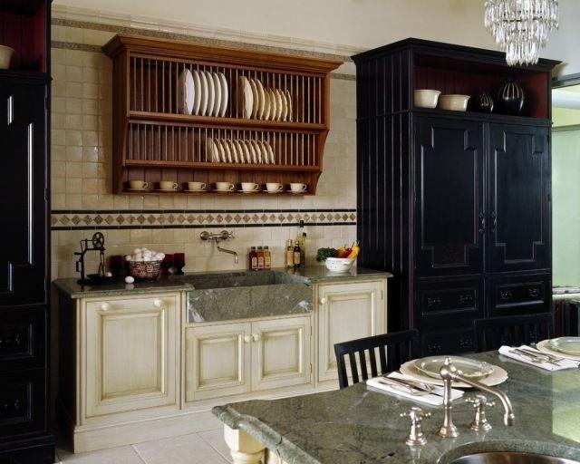 küche viktorianischen stil möbel tellerregal spüle marmor