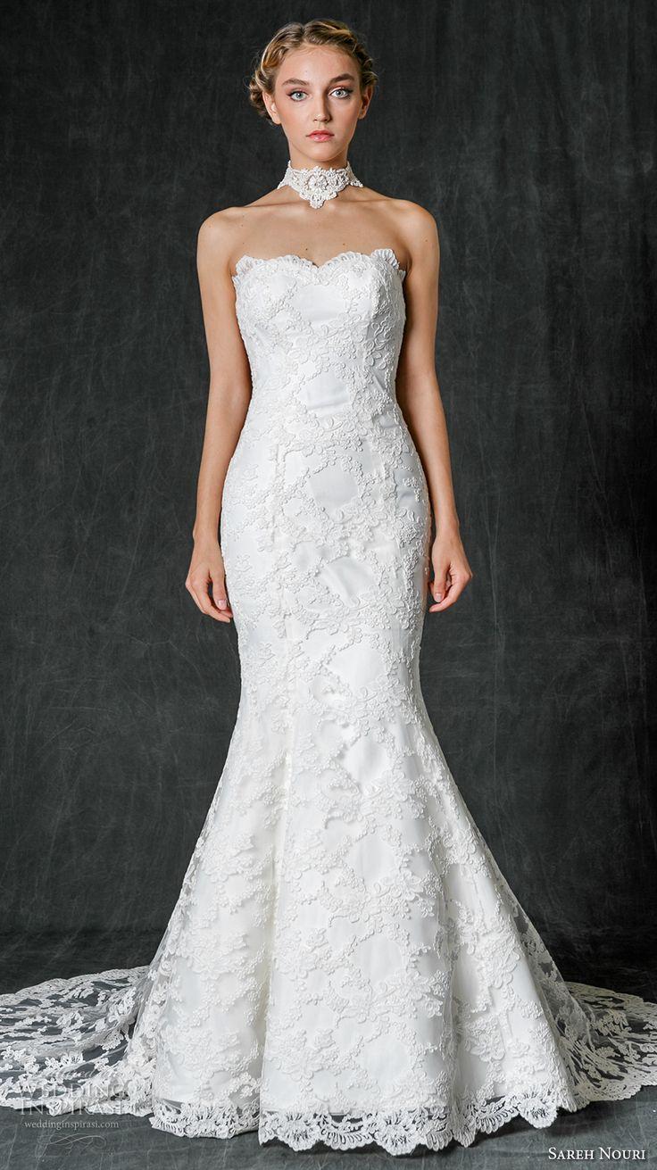 sareh nouri fall 2017 bridal strapless scallop sweetheart neckline full embellishment neck choker lace elegant mermaid wedding dress medium lace train (ruth) mv