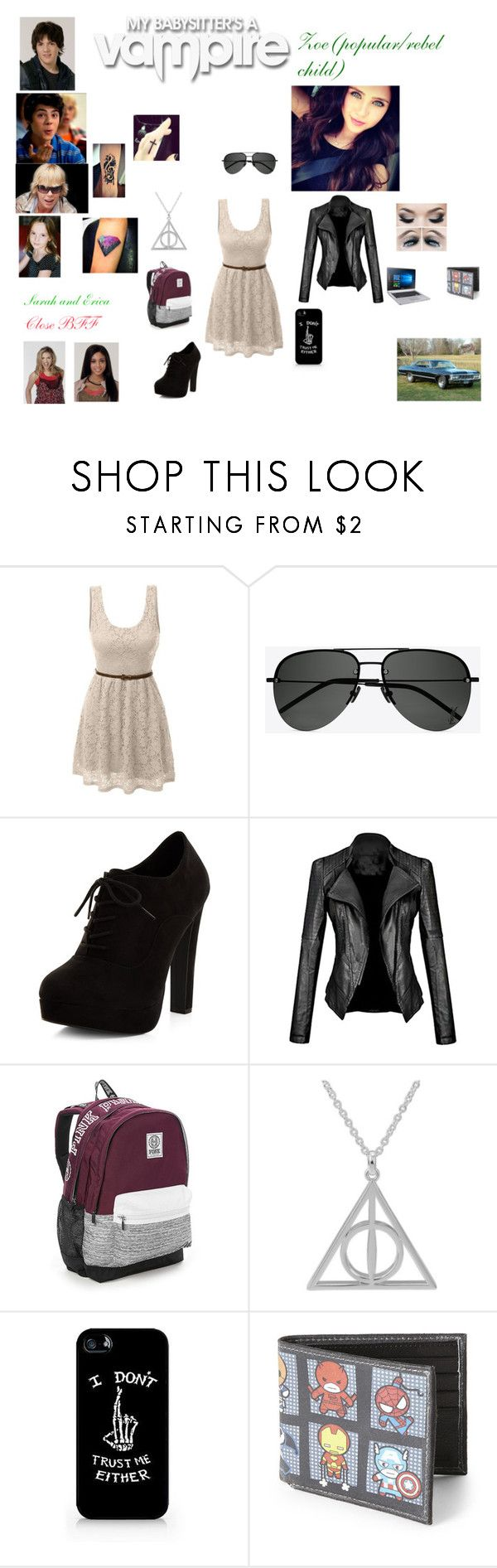 """My Babysitter's A Vampire"" by zoesears on Polyvore featuring Atticus, LE3NO, Yves Saint Laurent, New Look, Victoria's Secret and Marvel"