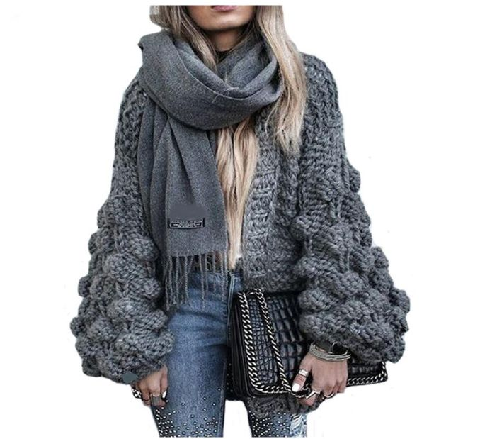 Knitted Crochet Sweater for Women Chunky Oversize Cardigan Coat Open Female Sweaters Cardigan