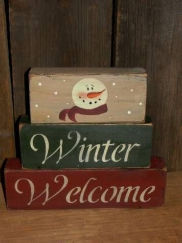 Winter Welcome With Snowman Stacking Blocks