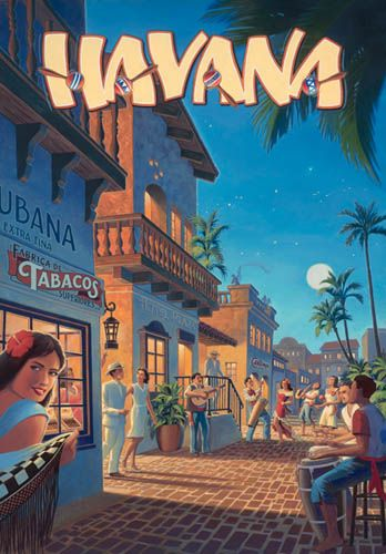 cuban art posters | Canvas Havana Cuba Travel Poster. Definitely newer art as it combines short-sleeve t-shirts on the musicians with the couple's formality of an era gone by.