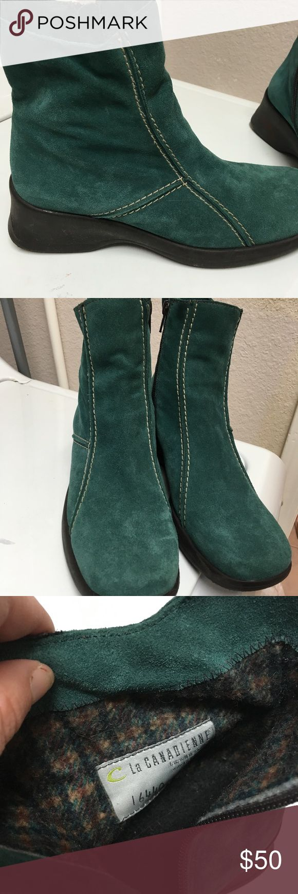 La Canadienne size 8 suede booties Dole says waterproof. Never worn pair of suede ankle boots in teal. Wedge heel, zips, nice flannel lining. Made in Canada. Size 8 la canadienne Shoes Ankle Boots & Booties
